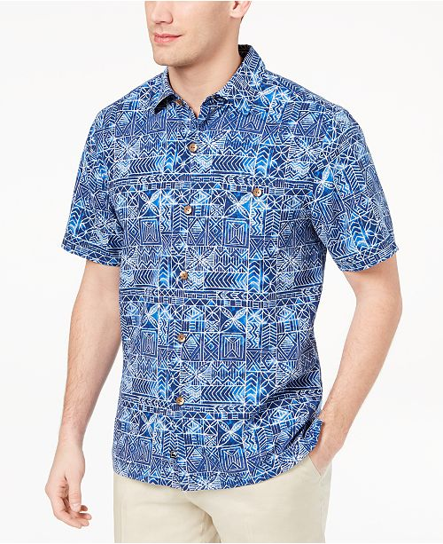 c6dcae0ec3 Tommy Bahama Men's Tropical Geo-Print Silk Shirt, Created for Macy's ...