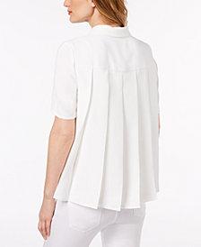 Lacoste Short-Sleeve Pleat-Back Top