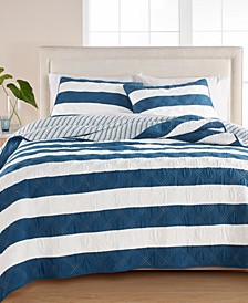 Cabana Stripe 100% Cotton Quilt and Sham Collection, Created for Macy's