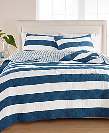 Martha Stewart Collection Cabana Stripe 100% Cotton King Quilt, Created for Macy's