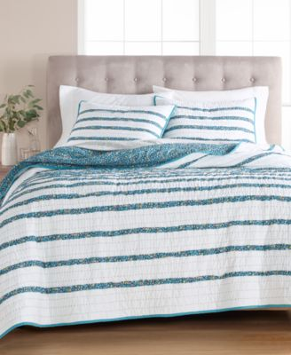 CLOSEOUT! Frayed Floral 100% Cotton Twin Quilt, Created for Macy's