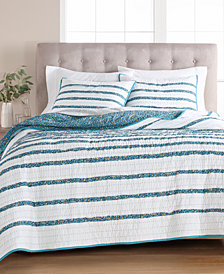 Martha Stewart Collection Frayed Floral 100% Cotton King Quilt, Created for Macy's