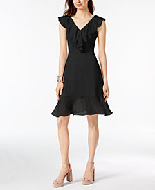 DKNY Ruffle Chiffon Fit & Flare Dress, Created for Macy's