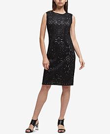 DKNY Lasercut & Mesh Sheath Dress, Created for Macy's
