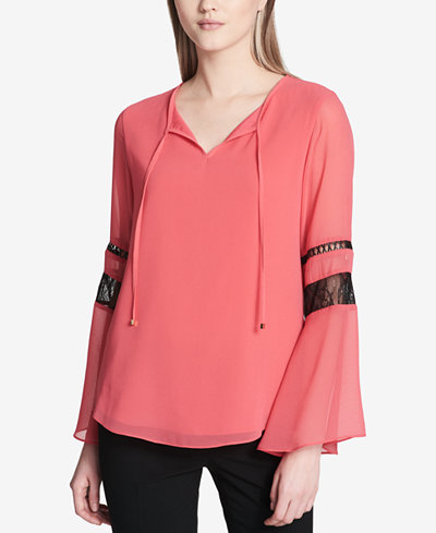 Calvin Klein Mixed-Media Bell-Sleeve Top