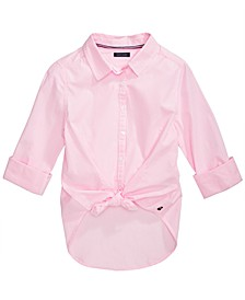 Big Girls Cotton Tie-Front Striped Shirt