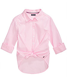 Tommy Hilfiger Big Girls Cotton Tie-Front Striped Shirt