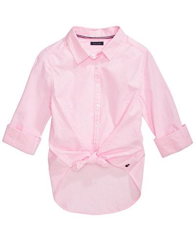 Tommy Hilfiger Big Girls Cotton Tie-Front Striped Shirt