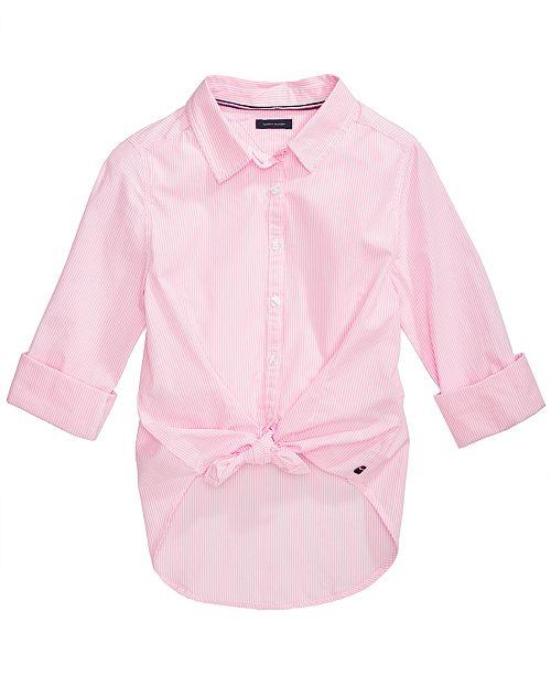 0b30c9f4 Tommy Hilfiger Big Girls Cotton Tie-Front Striped Shirt & Reviews ...