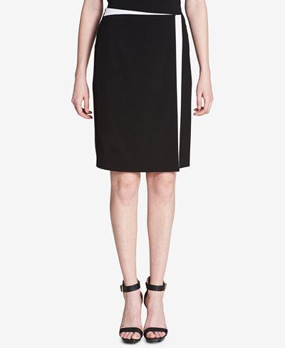Calvin Klein Colorblocked Wrap Skirt