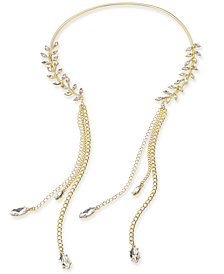 "Thalia Sodi Gold-Tone Crystal Leaf & Tassel 11"" Collar Necklace, Created for Macy's"