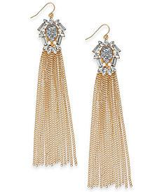 Thalia Sodi Gold-Tone Crystal, Glitter & Chain Tassel Linear Drop Earrings, Created for Macy's