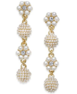 Gold-Tone Crystal & Imitation Pearl Flower & Orb Linear Drop Earrings, Created for Macy's
