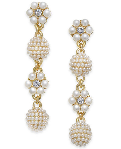 Charter Club Gold-Tone Crystal & Imitation Pearl Flower & Orb Linear Drop Earrings, Created for Macy's
