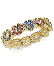 Charter Club Gold-Tone Multicolor Pavé Flower Stretch Bracelet, Created for Macy's