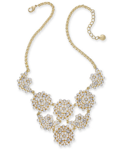Charter Club Gold-Tone Crystal & Imitation Pearl Statement Necklace, 17