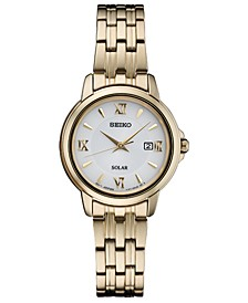 Women's Solar Essentials Gold-Tone Stainless Steel Bracelet Watch 28mm