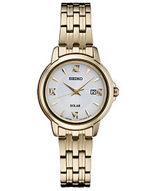 Seiko Women's Solar Essentials Gold-Tone Stainless Steel Bracelet Watch 28mm