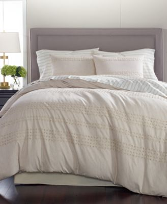 Eyelet Stripe Cotton 8-Pc. Queen Comforter Set, Created for Macy's