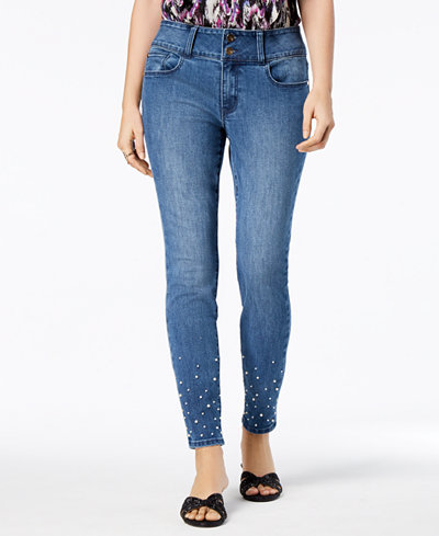 Thalia Sodi Faux-Pearl Ankle Skinny Jeans, Created for Macy's