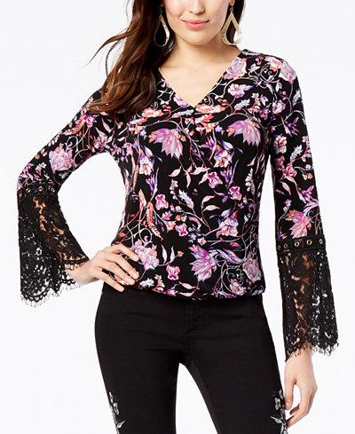 Thalia Sodi Printed Surplice Lace-Sleeve Top, Created for Macy's