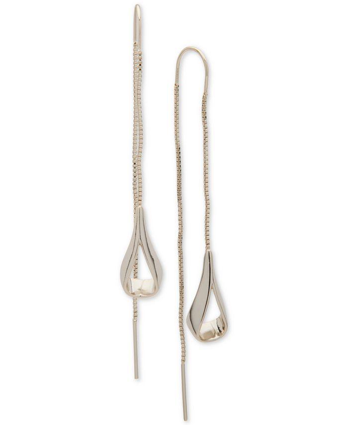 DKNY - Gold-Tone Open Teardrop Threader Earrings
