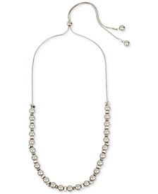 "Kenneth Cole New York Silver-Tone Pavé Bead & Imitation Pearl 30"" Slider Necklace"