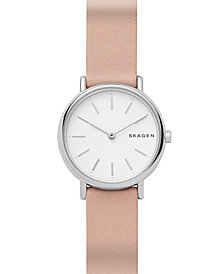 Skagen Women's Signature Slim Blush Leather Strap Watch 30mm