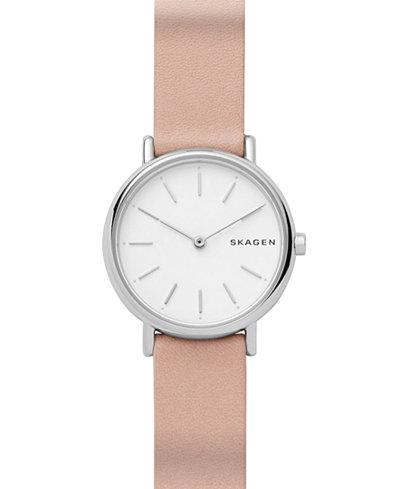 Skagen Women's Signature Slim Blush Leather Strap Watch 30mm