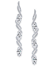 Danori Silver-Tone Cubic Zirconia Spiral Linear Drop Earrings, Created for Macy's