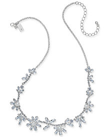 "kate spade new york Silver-Tone Crystal & Imitation Pearl Flower Collar Necklace, 17"" + 3"" extender"