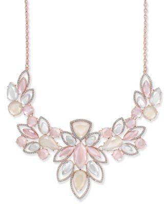 INC Rose GoldTone Pav Pink Stone Statement Necklace 18 3