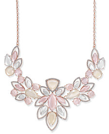 "I.N.C. Rose Gold-Tone Pavé & Pink Stone Statement Necklace, 18"" + 3"" extender, Created for Macy's"