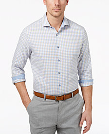 Tasso Elba Men's Bouclé Plaid Shirt, Created for Macy's