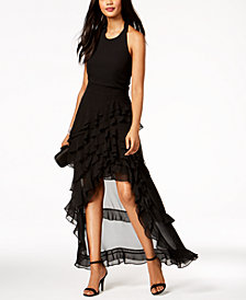 MSK Ruffled Halter High-Low Gown