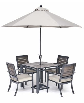 """Marlough II Outdoor Aluminum 5-Pc. Dining Set (36"""" Square Dining Table and 4 Dining Chairs) Sunbrella® Cushions, Created for Macy's"""