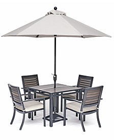 "Marlough II Outdoor Aluminum 5-Pc. Dining Set (36"" Square Dining Table and 4 Dining Chairs) Sunbrella® Cushions, Created for Macy's"