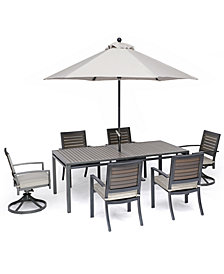 "Marlough II Outdoor Aluminum 7-Pc. Dining Set (84"" x 42"" Dining Table, 4 Dining Chairs and 2 Swivel Rockers) with Sunbrella Cushions, Created for Macy's"