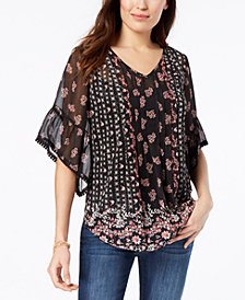Style & Co Petite Sheer V-Neck Tunic, Created for Macy's