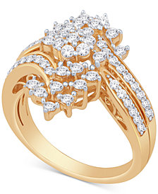 Diamond Cluster Statement Ring (1 ct. t.w.) in 14k Gold