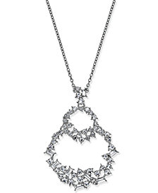 "I.N.C. Silver-Tone Crystal Double Loop Pendant Necklace, 28"" + 3"" extender, Created for Macy's"