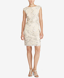 Lauren Ralph Lauren Cap-Sleeve Floral-Lace Dress