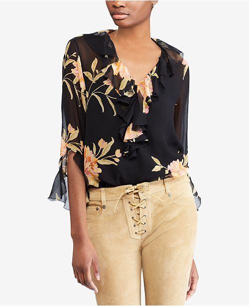 cc85775227b268 Polo Ralph Lauren Ruffled Floral-Print Blouse   Reviews - Tops ...