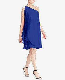 Lauren Ralph Lauren Londie Georgette One-Shoulder Dress