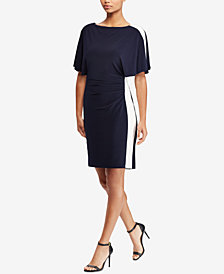 Lauren Ralph Lauren Colorblocked Flutter-Sleeve Dress