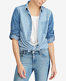 Lauren Ralph Lauren Petite Denim Cotton Shirt