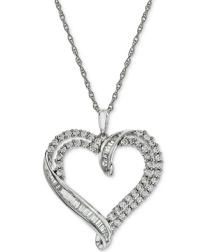 Macy's Diamond Heart Pendant Necklace (1 ct. t.w.)