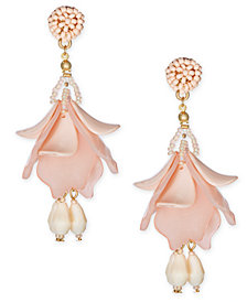 I.N.C. Gold-Tone Resin Petal Shaky Drop Earrings, Created for Macy's
