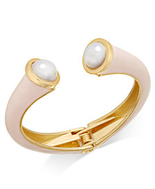 I.N.C. Gold-Tone Imitation Pearl Pink Hinged Cuff Bracelet, Created for Macy's