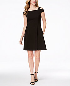 Vince Camuto Cold-Shoulder Fit & Flare Dress